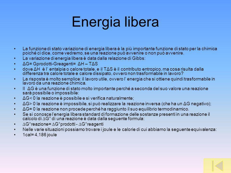 Energia libera La funzione di stato variazione di energia libera è la più importante funzione di stato per la chimica poiché ci dice, come vedremo, se una reazione può avvenire o non può avvenire.