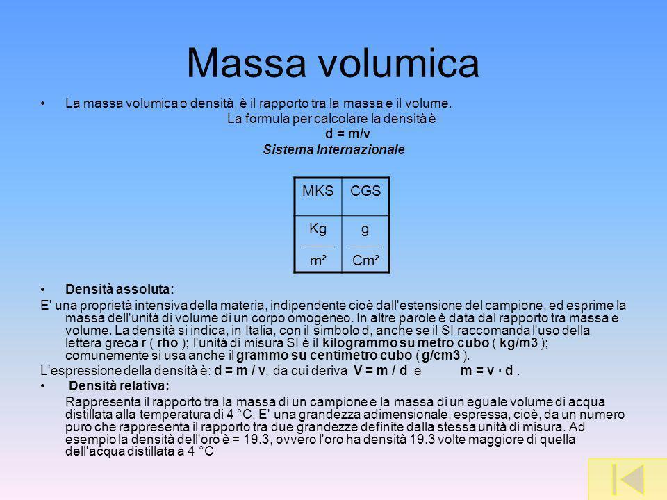 Massa volumica La massa volumica o densità, è il rapporto tra la massa e il volume. La formula per calcolare la densità è: d = m/v Sistema Internazion