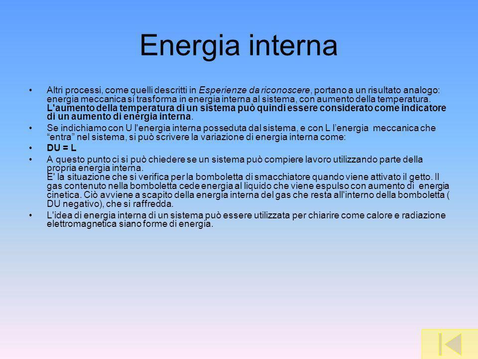 Energia interna Altri processi, come quelli descritti in Esperienze da riconoscere, portano a un risultato analogo: energia meccanica si trasforma in energia interna al sistema, con aumento della temperatura.
