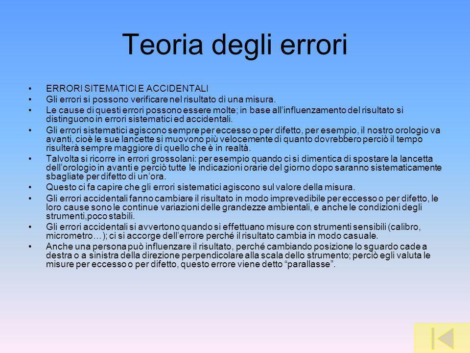 Teoria degli errori ERRORI SITEMATICI E ACCIDENTALI Gli errori si possono verificare nel risultato di una misura. Le cause di questi errori possono es