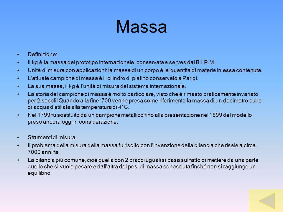 Massa Definizione: Il kg è la massa del prototipo internazionale, conservata a serves dal B.I.P.M. Unità di misura con applicazioni: la massa di un co