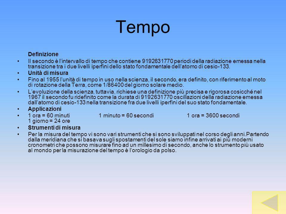Tempo Definizione Il secondo è lintervallo di tempo che contiene 9192631770 periodi della radiazione emessa nella transizione tra i due livelli iperfini dello stato fondamentale dellatomo di cesio-133.