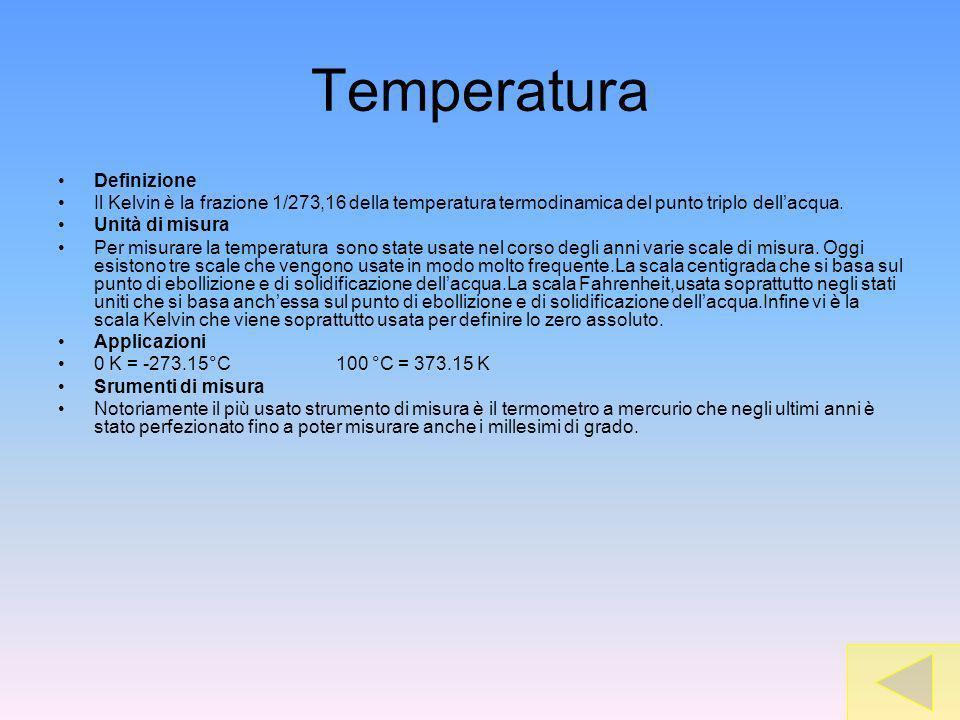 Temperatura Definizione Il Kelvin è la frazione 1/273,16 della temperatura termodinamica del punto triplo dellacqua. Unità di misura Per misurare la t