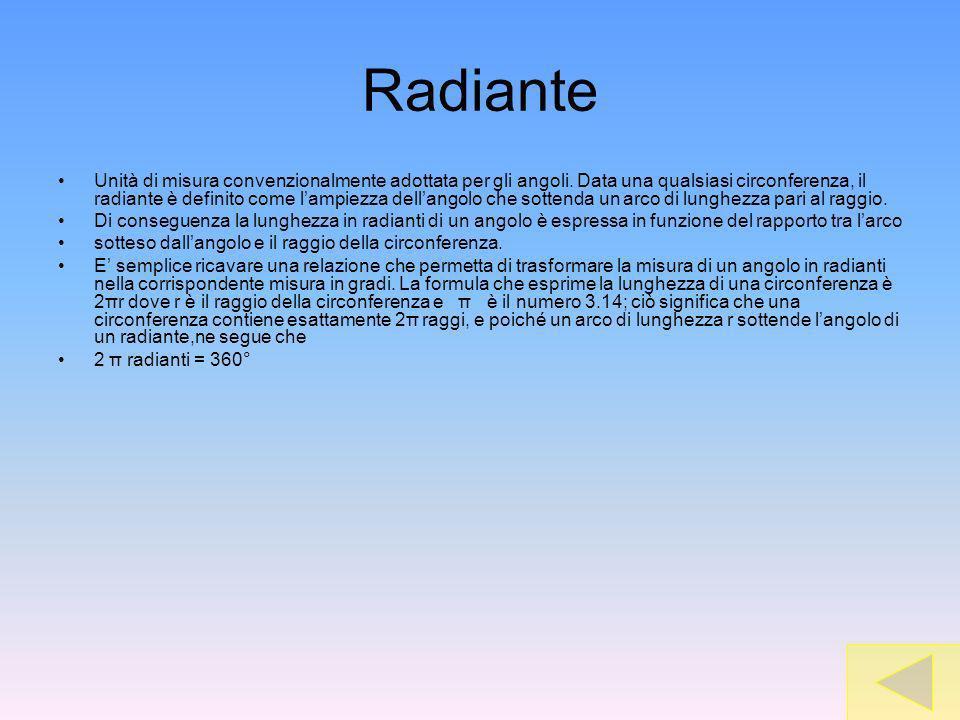 Radiante Unità di misura convenzionalmente adottata per gli angoli. Data una qualsiasi circonferenza, il radiante è definito come lampiezza dellangolo
