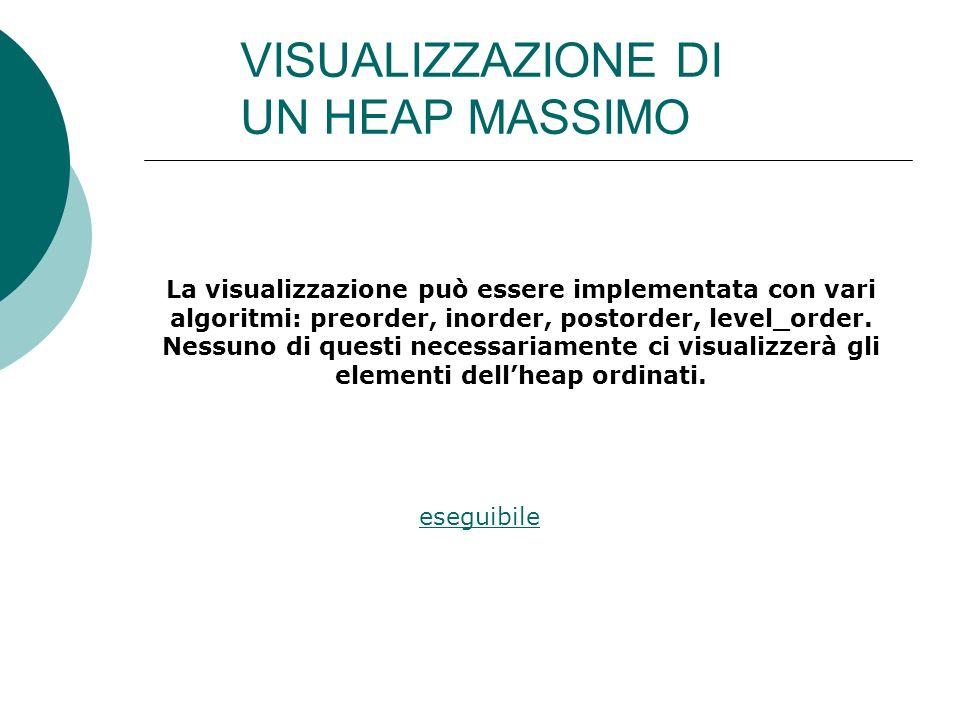 VISUALIZZAZIONE DI UN HEAP MASSIMO La visualizzazione può essere implementata con vari algoritmi: preorder, inorder, postorder, level_order.