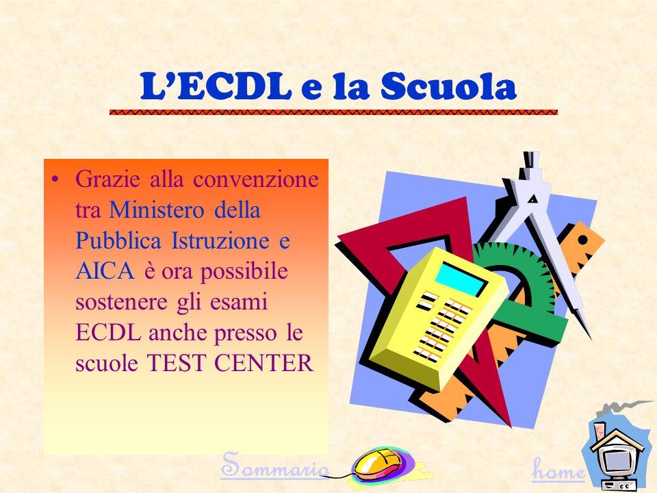 LAICA e la ECDL Nellambito del programma ECDL, lAICA ha il compito di selezionare i TEST CENTER, ossia le sedi accreditate per gli esami ECDL. Sommari