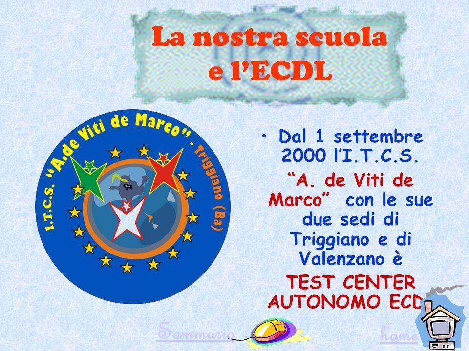 LECDL e la Scuola Grazie alla convenzione tra Ministero della Pubblica Istruzione e AICA è ora possibile sostenere gli esami ECDL anche presso le scuole TEST CENTER Sommario home
