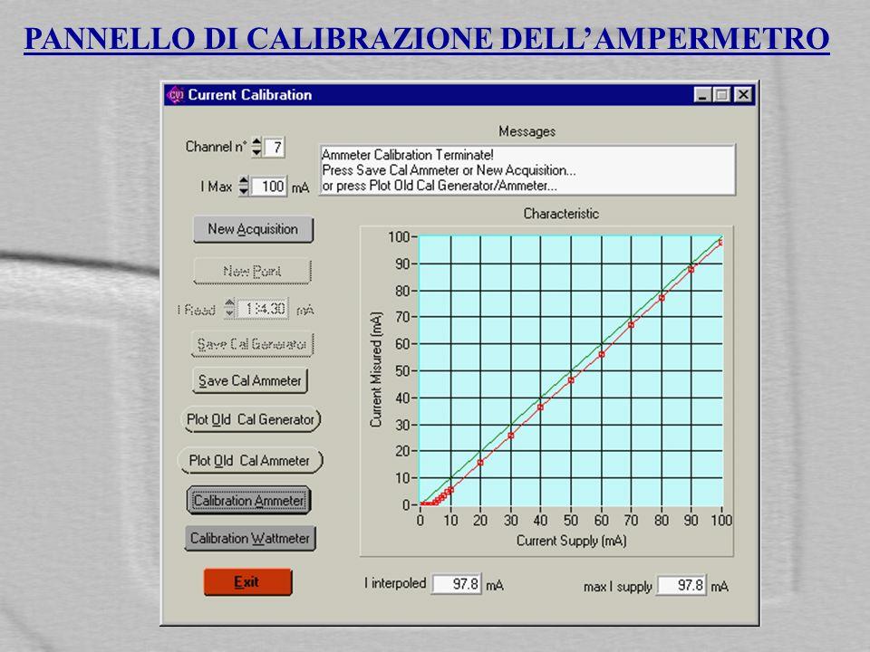 PANNELLO DI CALIBRAZIONE DELLAMPERMETRO