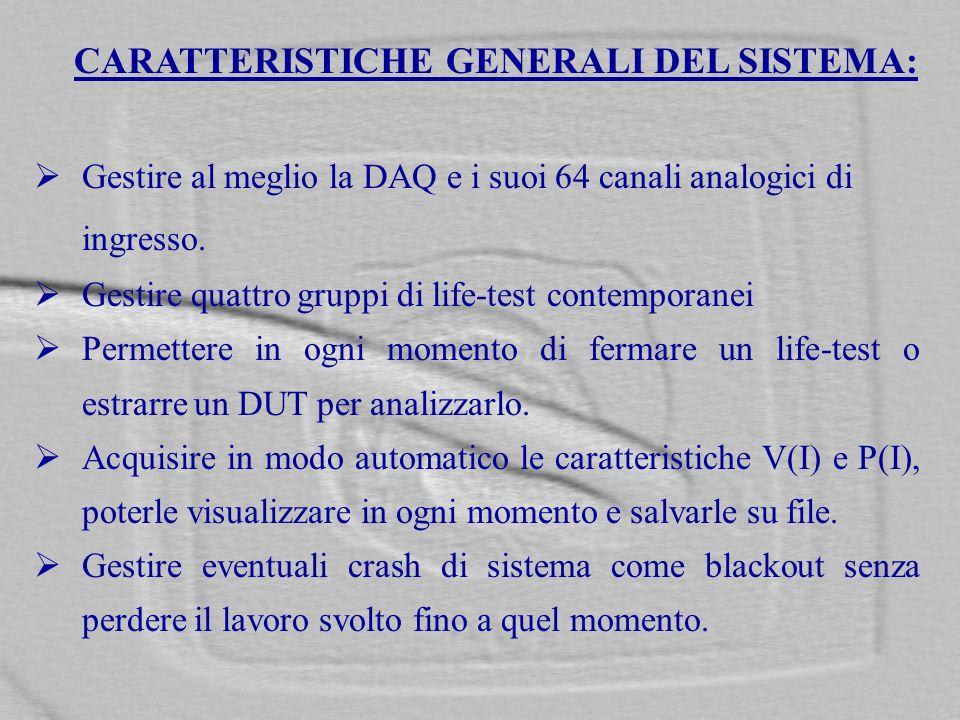 CARATTERISTICHE GENERALI DEL SISTEMA: Gestire al meglio la DAQ e i suoi 64 canali analogici di ingresso. Gestire quattro gruppi di life-test contempor