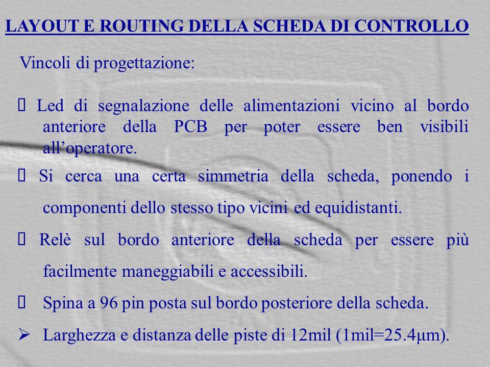 LAYOUT E ROUTING DELLA SCHEDA DI CONTROLLO Vincoli di progettazione: Led di segnalazione delle alimentazioni vicino al bordo anteriore della PCB per p