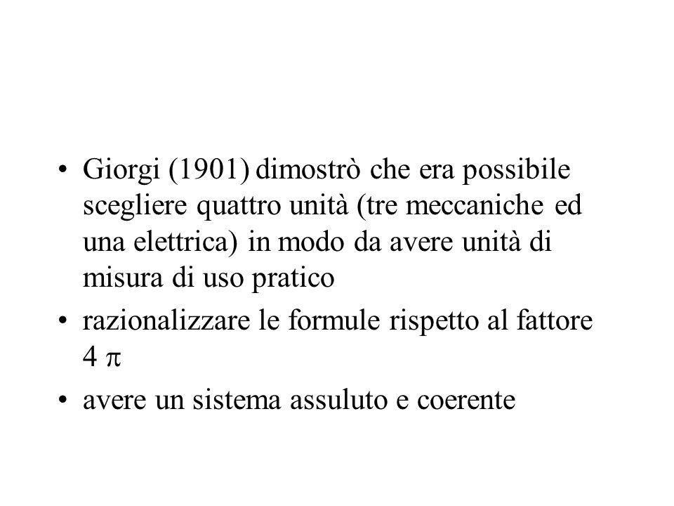 Giorgi (1901) dimostrò che era possibile scegliere quattro unità (tre meccaniche ed una elettrica) in modo da avere unità di misura di uso pratico raz
