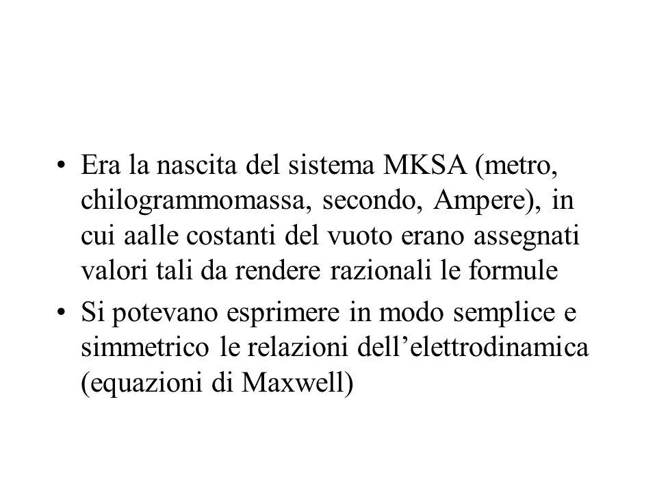 Era la nascita del sistema MKSA (metro, chilogrammomassa, secondo, Ampere), in cui aalle costanti del vuoto erano assegnati valori tali da rendere raz