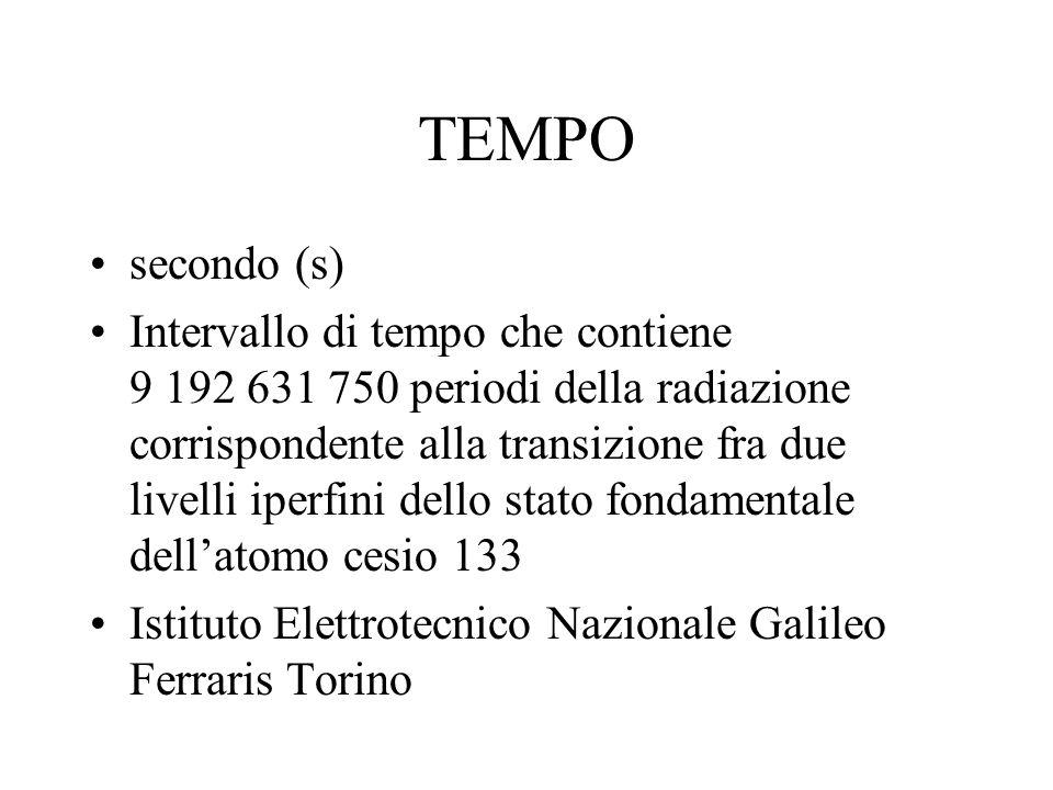 TEMPO secondo (s) Intervallo di tempo che contiene 9 192 631 750 periodi della radiazione corrispondente alla transizione fra due livelli iperfini del
