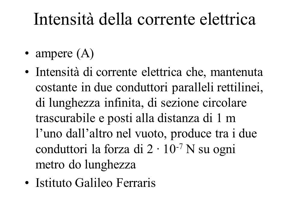 Intensità della corrente elettrica ampere (A) Intensità di corrente elettrica che, mantenuta costante in due conduttori paralleli rettilinei, di lungh