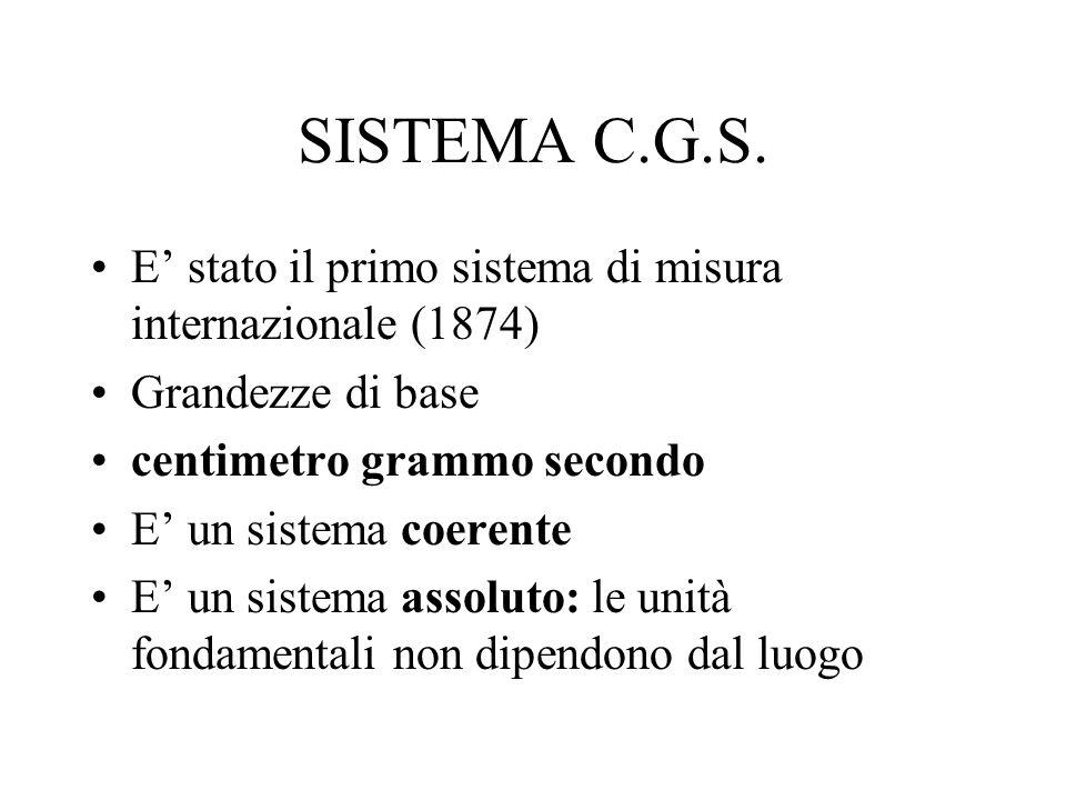 SISTEMA C.G.S. E stato il primo sistema di misura internazionale (1874) Grandezze di base centimetro grammo secondo E un sistema coerente E un sistema
