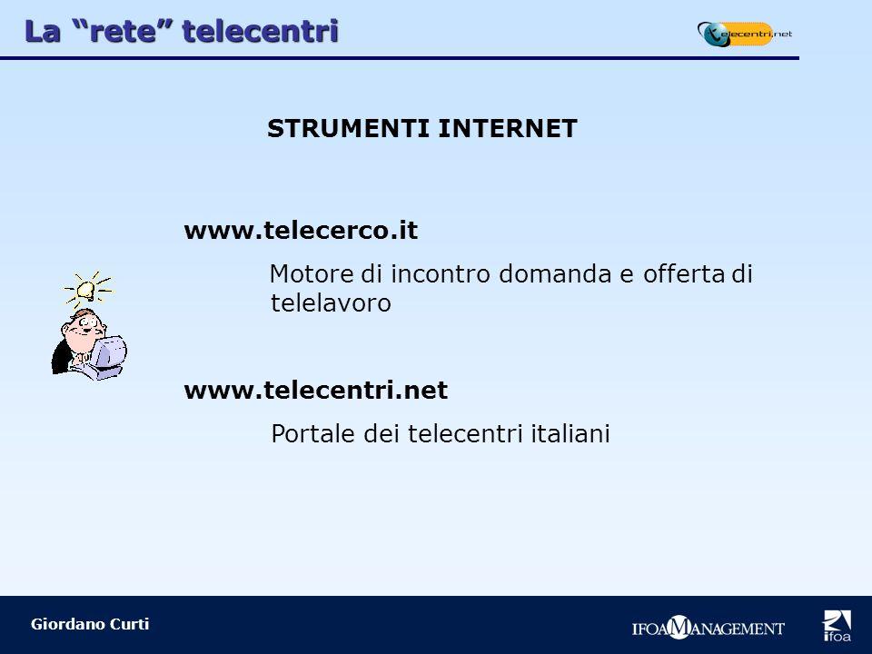 La rete telecentri Giordano Curti STRUMENTI INTERNET www.telecerco.it Motore di incontro domanda e offerta di telelavoro www.telecentri.net Portale dei telecentri italiani