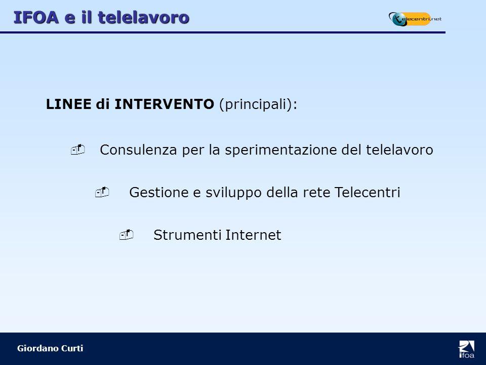 IFOA e il telelavoro Giordano Curti LINEE di INTERVENTO (principali): Consulenza per la sperimentazione del telelavoro Gestione e sviluppo della rete Telecentri Strumenti Internet