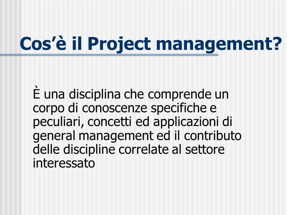 Cosè il Project management? È una disciplina che comprende un corpo di conoscenze specifiche e peculiari, concetti ed applicazioni di general manageme