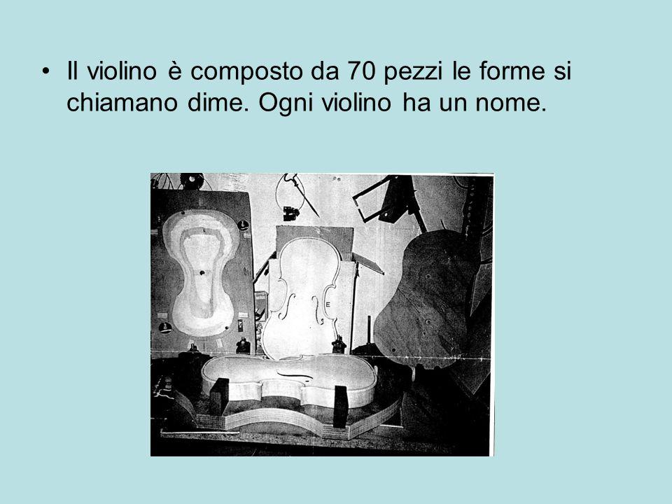 Il violino è composto da 70 pezzi le forme si chiamano dime. Ogni violino ha un nome.