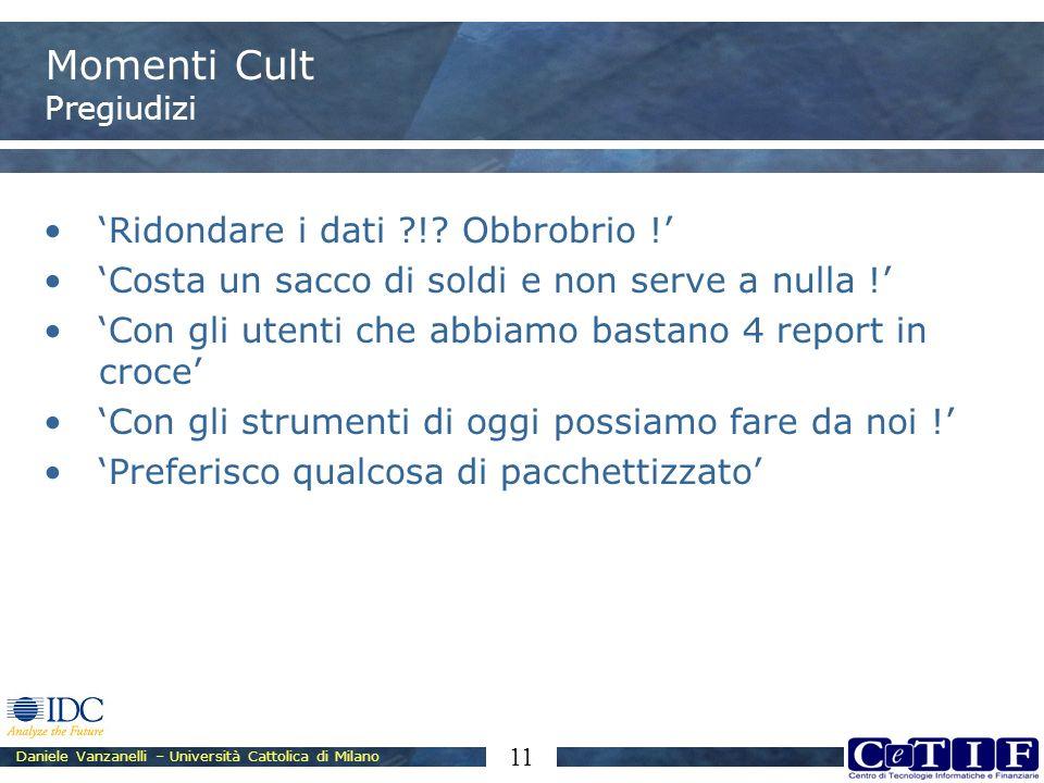 Daniele Vanzanelli – Università Cattolica di Milano 11 Momenti Cult Pregiudizi Ridondare i dati ?!? Obbrobrio ! Costa un sacco di soldi e non serve a