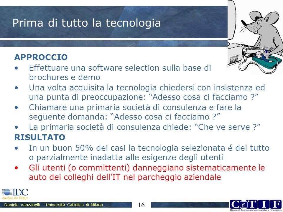 Daniele Vanzanelli – Università Cattolica di Milano 16 Prima di tutto la tecnologia APPROCCIO Effettuare una software selection sulla base di brochure