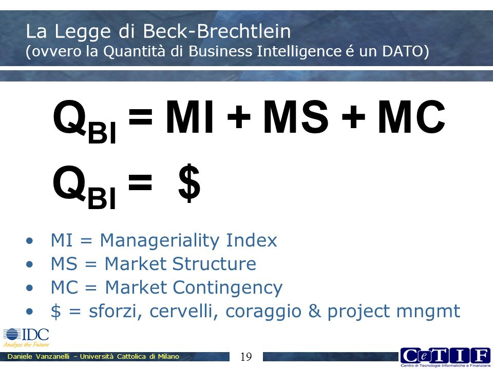 Daniele Vanzanelli – Università Cattolica di Milano 19 La Legge di Beck-Brechtlein (ovvero la Quantità di Business Intelligence é un DATO) MI = Manageriality Index MS = Market Structure MC = Market Contingency $ = sforzi, cervelli, coraggio & project mngmt Q BI =MI+MS+MC Q BI =$
