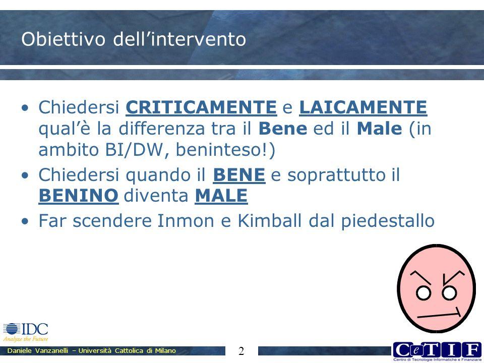 Daniele Vanzanelli – Università Cattolica di Milano 2 Obiettivo dellintervento Chiedersi CRITICAMENTE e LAICAMENTE qualè la differenza tra il Bene ed