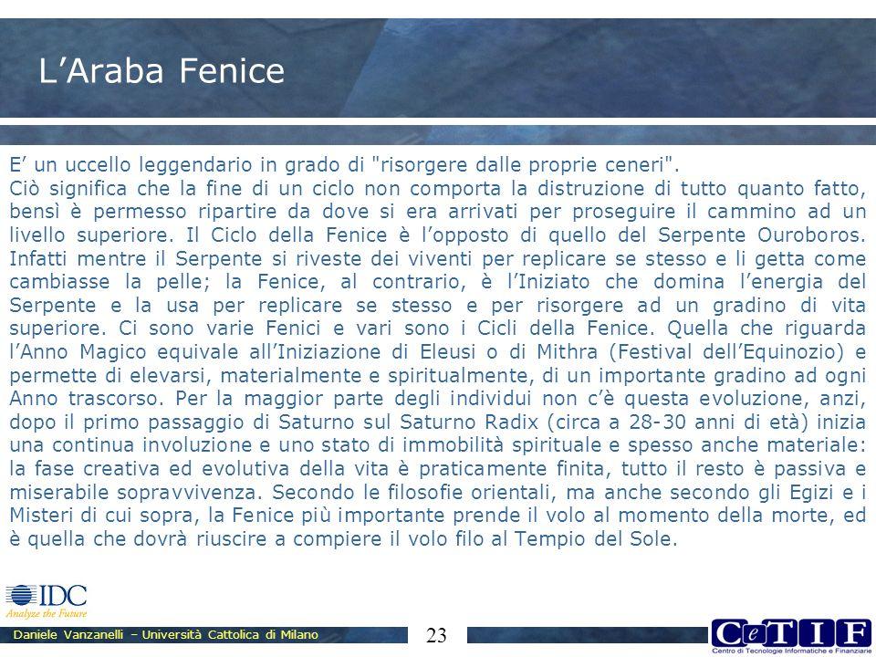 Daniele Vanzanelli – Università Cattolica di Milano 23 LAraba Fenice E un uccello leggendario in grado di