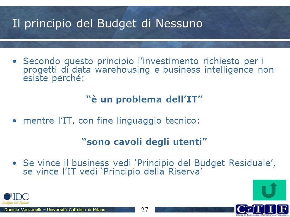 Daniele Vanzanelli – Università Cattolica di Milano 27 Il principio del Budget di Nessuno Secondo questo principio linvestimento richiesto per i proge