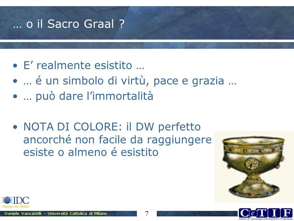 Daniele Vanzanelli – Università Cattolica di Milano 7 … o il Sacro Graal ? E realmente esistito … … é un simbolo di virtù, pace e grazia … … può dare