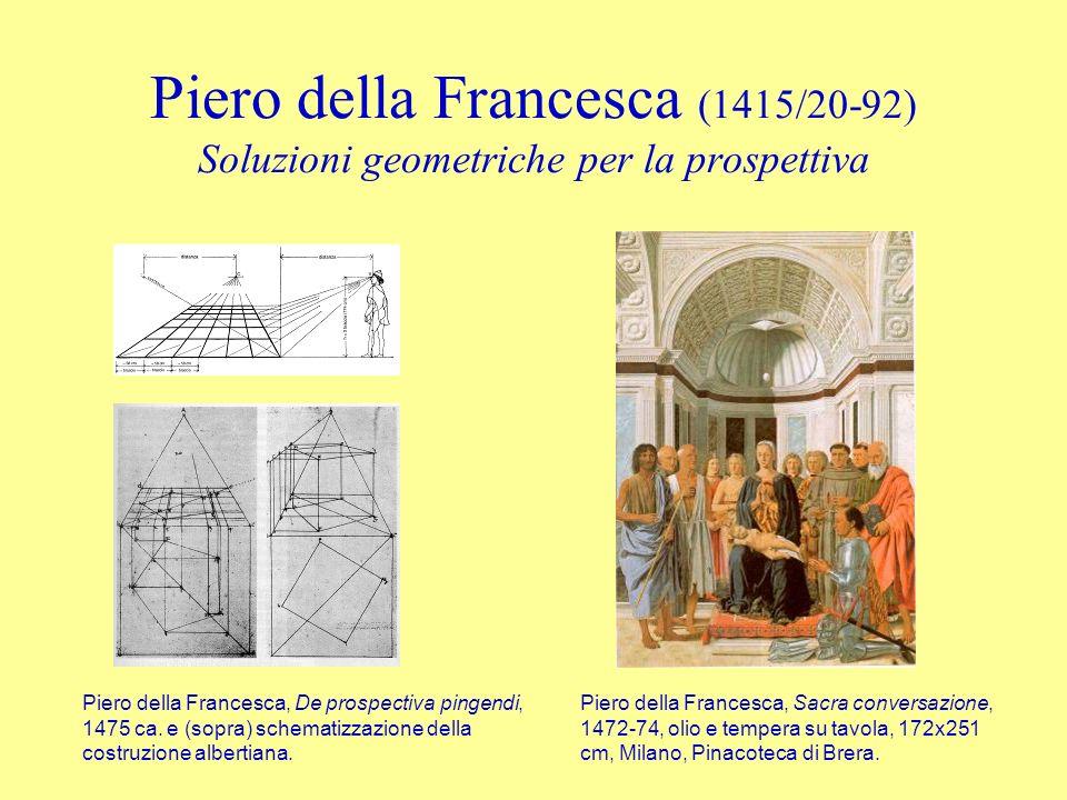 Piero della Francesca (1415/20-92) Soluzioni geometriche per la prospettiva Piero della Francesca, De prospectiva pingendi, 1475 ca. e (sopra) schemat