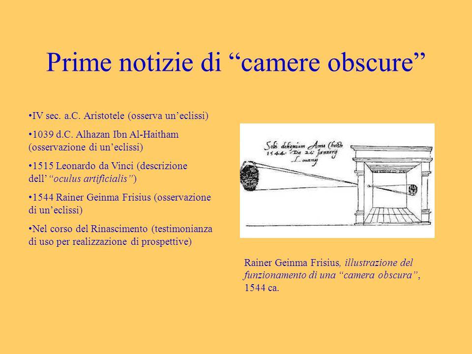 Prime notizie di camere obscure IV sec. a.C. Aristotele (osserva uneclissi) 1039 d.C. Alhazan Ibn Al-Haitham (osservazione di uneclissi) 1515 Leonardo