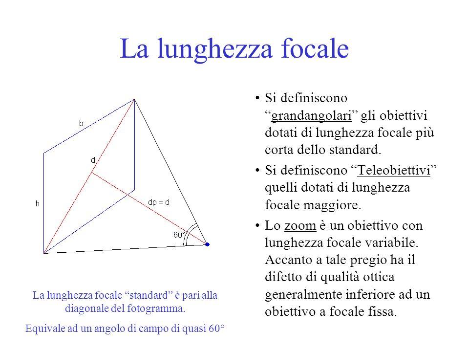 La lunghezza focale Si definisconograndangolari gli obiettivi dotati di lunghezza focale più corta dello standard. Si definiscono Teleobiettivi quelli