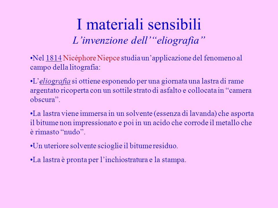 I materiali sensibili Linvenzione delleliografia Nel 1814 Nicéphore Niepce studia unapplicazione del fenomeno al campo della litografia: Leliografia s