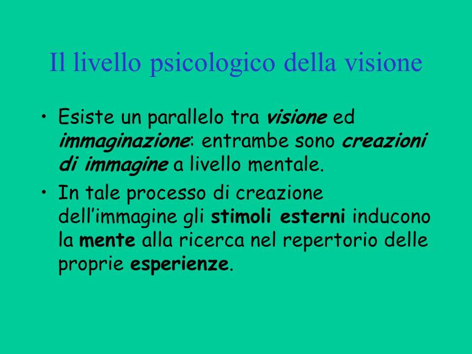 Il livello psicologico della visione Esiste un parallelo tra visione ed immaginazione: entrambe sono creazioni di immagine a livello mentale. In tale
