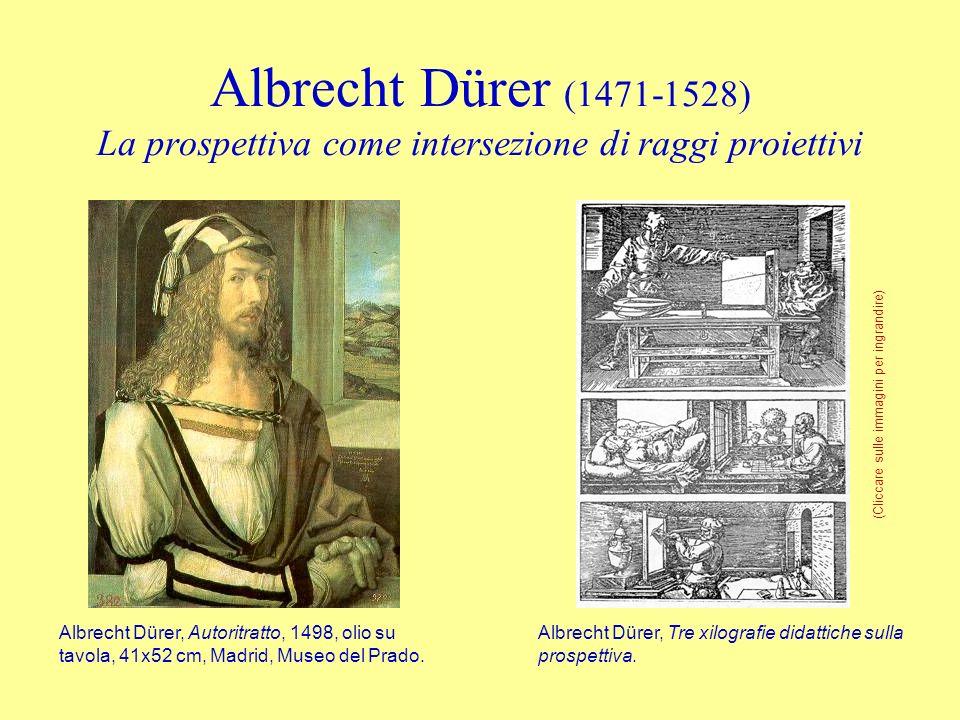 Albrecht Dürer (1471-1528) La prospettiva come intersezione di raggi proiettivi Albrecht Dürer, Tre xilografie didattiche sulla prospettiva. Albrecht