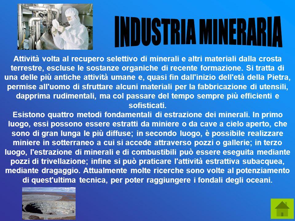 Attività volta al recupero selettivo di minerali e altri materiali dalla crosta terrestre, escluse le sostanze organiche di recente formazione. Si tra