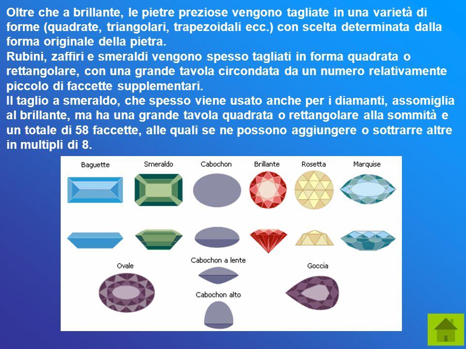 Oltre che a brillante, le pietre preziose vengono tagliate in una varietà di forme (quadrate, triangolari, trapezoidali ecc.) con scelta determinata d