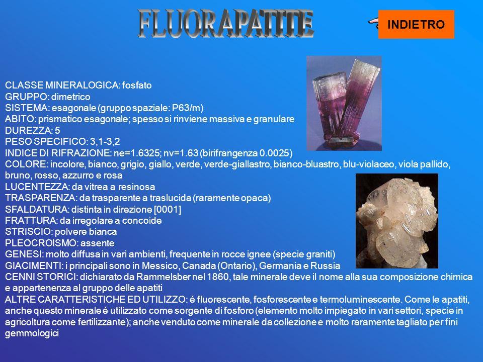 INDIETRO CLASSE MINERALOGICA: fosfato GRUPPO: dimetrico SISTEMA: esagonale (gruppo spaziale: P63/m) ABITO: prismatico esagonale; spesso si rinviene ma
