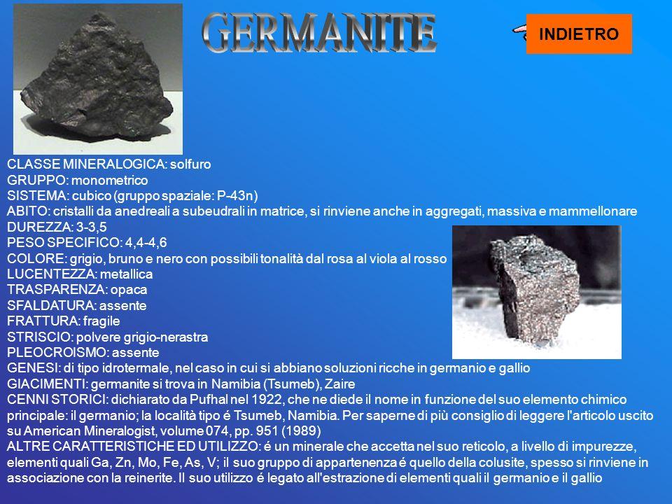 CLASSE MINERALOGICA: solfuro GRUPPO: monometrico SISTEMA: cubico (gruppo spaziale: P-43n) ABITO: cristalli da anedreali a subeudrali in matrice, si ri