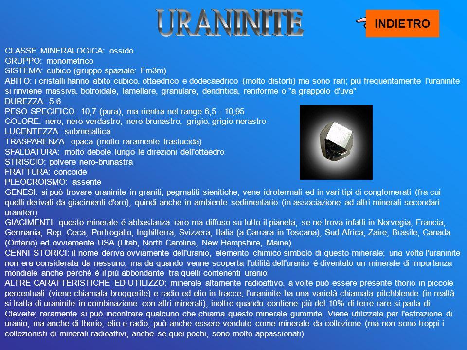 CLASSE MINERALOGICA: ossido GRUPPO: monometrico SISTEMA: cubico (gruppo spaziale: Fm3m) ABITO: i cristalli hanno abito cubico, ottaedrico e dodecaedri