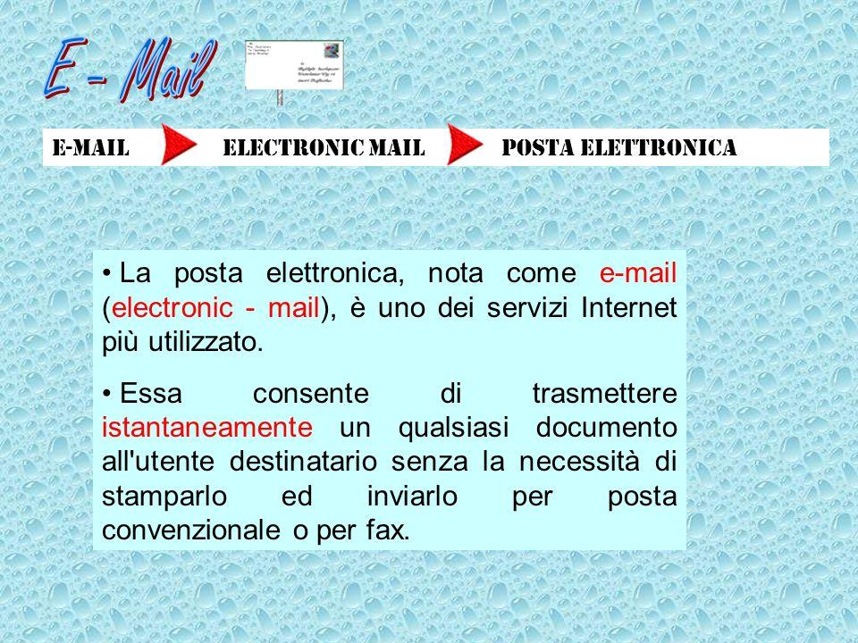 E-Mail electronic mail posta elettronica La posta elettronica, nota come e-mail (electronic - mail), è uno dei servizi Internet più utilizzato. Essa c