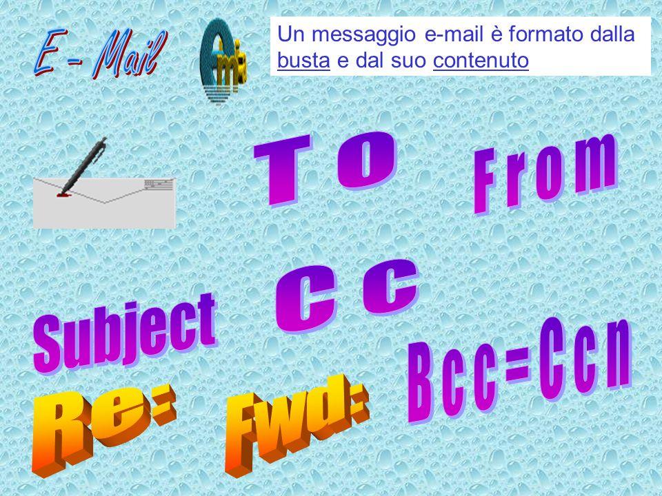 Un messaggio e-mail è formato dalla busta e dal suo contenuto