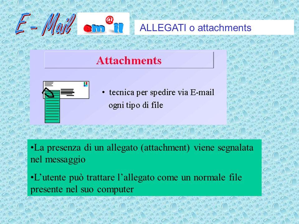 ALLEGATI o attachments La presenza di un allegato (attachment) viene segnalata nel messaggio Lutente può trattare lallegato come un normale file presente nel suo computer