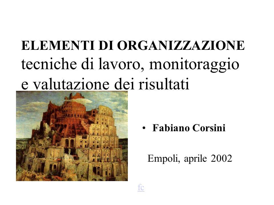 ELEMENTI DI ORGANIZZAZIONE tecniche di lavoro, monitoraggio e valutazione dei risultati Fabiano Corsini Empoli, aprile 2002 fc