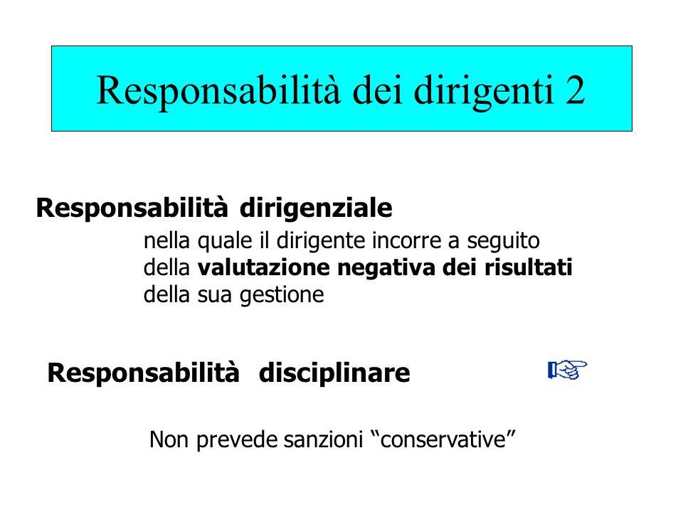 Responsabilità dei dirigenti 2 Responsabilità dirigenziale Responsabilità disciplinare nella quale il dirigente incorre a seguito della valutazione negativa dei risultati della sua gestione Non prevede sanzioni conservative