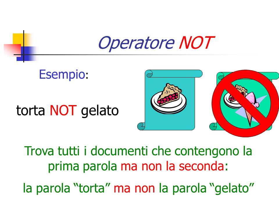 Operatore NOT Esempio : torta NOT gelato Trova tutti i documenti che contengono la prima parola ma non la seconda: la parola torta ma non la parola ge