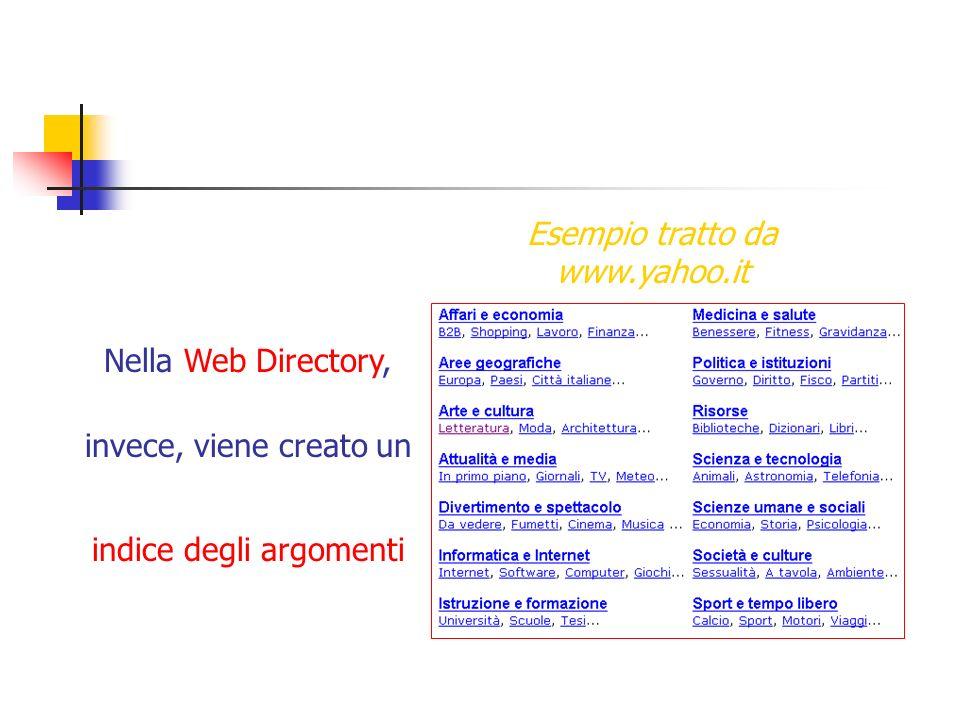 Nella Web Directory, invece, viene creato un indice degli argomenti Esempio tratto da www.yahoo.it