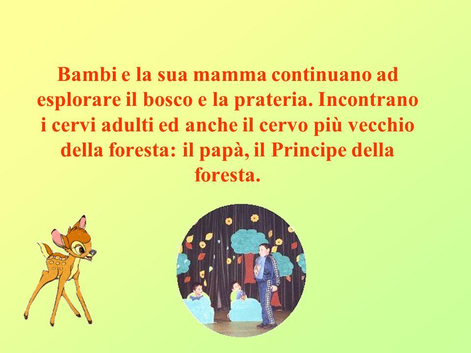 Bambi e la sua mamma continuano ad esplorare il bosco e la prateria. Incontrano i cervi adulti ed anche il cervo più vecchio della foresta: il papà, i