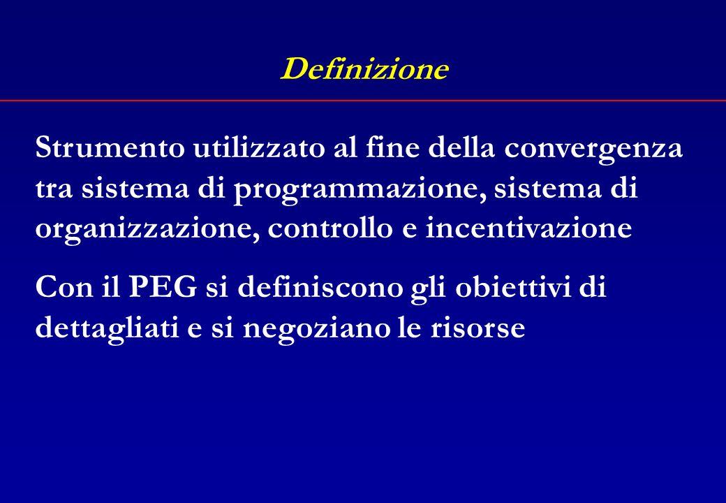 Definizione Art. 169 TUEL 1. Sulla base del bilancio di previsione annuale deliberato dal consiglio, l'organo esecutivo definisce, prima dell'inizio d
